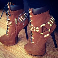 Brown gold-accented booties