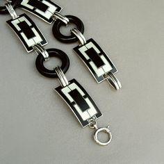 Black Friday Sale ART DECO Bracelet ENAMEL Sterling by YearsAfter