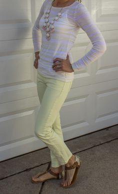 Yellow skinnies + cream/white/light tan top