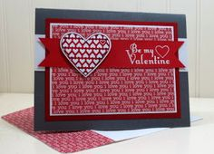 Stampin Up Valentines Day Card, FIlled with Love, Delightful Dozen, Heat Embossing, Masculine Valentine at Stampin Amore