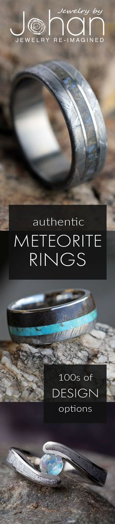 If you're looking for unique wedding rings, look no further than our meteorite rings. We have 100s of designs or can customize a ring just for you. Pair your meteorite with dino bone for the ultimate style!
