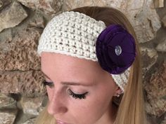 Ecru Crochet Headband with Purple Taffeta Flower by CalmBeforeDawn