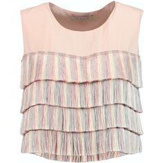 Alexis Jason fringed silk top ($175) ❤ liked on Polyvore featuring tops, crop top, shirts, blusas, blush, loose fit crop top, cream shirt, fringe crop top, pink shirts and silk crop top