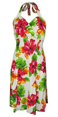 Napali Hoopla White Hawaiian Dress, Hawaiian dress, Hawaiian fancy dress, sundress, Halter Hawaiian dress