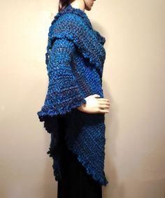 Blue Long Triangle Shawls Wraps Fall Winter Fashion Accessories – Robin Harley FREE SHIPPING! $90.00