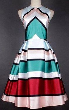 Candy Striped Silk-Blend Dress