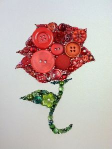 Button Art Alpha Omicron Pi Cardinal Rose Button Rose Wall Art on Etsy valentinesdaygift Diy Buttons, How To Make Buttons, Vintage Buttons, Diy And Crafts, Arts And Crafts, Handmade Crafts, Button Picture, Thinking Day, Button Flowers