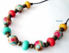 polymer clay beads in necklace by Pilar (Amatista)