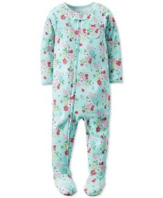 Carter's Baby Girls' 1-Pc. Footed Floral-Print Pajamas