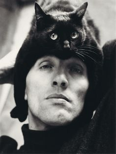 Intimate Portraits of 50 Artsts and Their Cats, compiled by Alison Nastasi.  Here is Herbert Tobias / Photograph by Peter Fuerst; @ 2014 Artists Rights Society (ARS), New York / VG Bild-Kunst, Bonn  http://www.thisiscolossal.com/2015/04/intimate-portraits-of-artists-and-their-cats-compiled-by-alison-nastasi/?src=footer