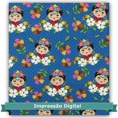 Tecido Estampado para Patchwork - Digital Frida Azul (0,50x1,40) 100% Algodão -  Fabricante:  Atelie Serenissima
