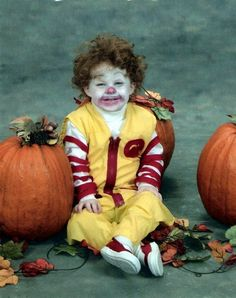 Ronald McDonald costume, this was just out of yellow material. His hair is natural curls first hair cut was a week later.