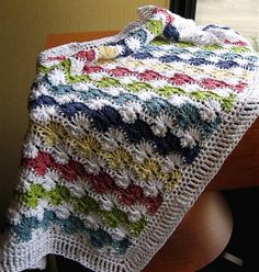 Crocheted Baby Blanket.. Catherine's Wheel stitch.. Lion Brand Cotton Ease.. I hook.. Double Treble Border. (would love to find the pattern for the border..?)