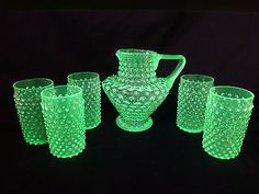 Vintage Hobnail Green Vaseline Glass Pitcher Tumbler Lemonade Water Set of Six...Sooooo in love with this!