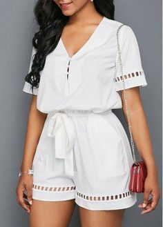 Sexy Jumpsuits and Rompers For Club, Evening Cocktail Party Cute Rompers, Rompers Women, Jumpsuits For Women, Fashion Jumpsuits, Online Fashion, Looks Plus Size, Romper With Skirt, White Romper, White Jumpsuit