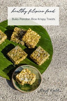 Bridging the American and Filipino snack gap with these Buko Pandan Rice Krispy Treats. They are made with pandan powder and vegan marshmallows Rice Krispy Treats Recipe, Rice Crispy Treats, Krispie Treats, Rice Krispies, Whole Food Recipes, Dessert Recipes, Desserts, Butter Mochi, Vegan Marshmallows
