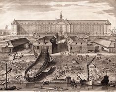 The Dutch East India Company was the main importer of chintz fabrics to Europe during the 17th and 18th century. This engraving shows the shipyard and warehouses of the company in Amsterdam, around 1750. Collection Fries Scheepvaart Museum, Sneek, The Netherlands.