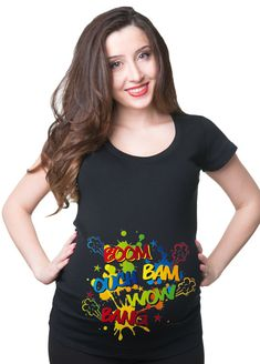 Pregnancy T-shirt Baby Kicking Boom Ouch Bam Wow Funny Maternity Tee Pregnancy T-Shirt