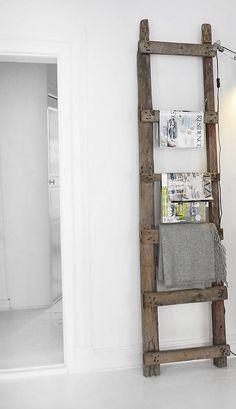lovely old ladder magazine rack
