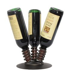 Wine Accessories | 3 Bottle Tabletop Wine Rack / Holder