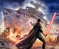 Star Wars: The Force Unleashed. Starkiller bringing down a star destroyer! He's amazing!