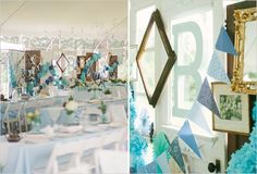 blue wedding ideas for a backyard tented reception  // photo by The McCartneys