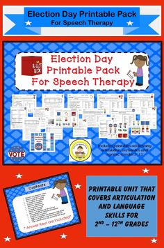 $Printable Pack Includes ~ Election Memory Game  ~ Election  Board Game ~  Articulation Worksheet ~ Preposition Worksheet ~ Synonym Worksheet ~  Antonym Worksheet ~ Homonym Worksheet ~  Analogy Worksheet ~ Election Day Plural Worksheet ~ Election Day Noun-Verb Agreement Worksheet ~ Voting Machine EET Defining Worksheet ~ Election Day Wh Questions ~ High Level Election Day Semantic Skill Sheet ~ High Level Election Day Vocabulary Fill In ~ High Level Election Day Syntactic Skill Sheet