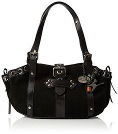 """Handtasche """"Caprice"""" aus Wildleder von Catwalk Collection - Schwarz - Größe: B: 35 H: 17,5 T: 12,5 cm"""
