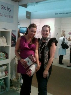 Lovely Michelle Heaton with Brenda before having her first bab, Faith. She chose a pink berries Cosy Car Seat Cover and Mini Chaging bag