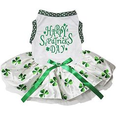 Petitebella Puppy Clothes Dog Dress St Patrick's Day White Top Clover Tutu (White Clovers, XX-Large) >>> Click on the image for additional details. (This is an affiliate link) #DogApparelAccessories