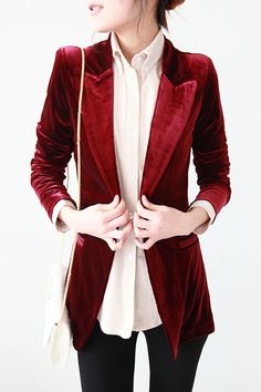 this suit jacket outfit. Normally velvet looks cheap but the cut and color makes this one luxurious.