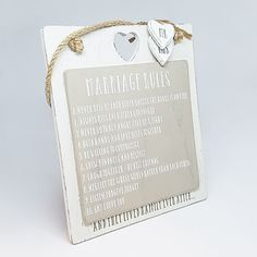 The Marriage Rules Hanging Sign is a beautifully made, rustic, layered wooden sign with 2 Mr & Mrs hanging hearts. An example of the rules: Engagement Signs, Hanging Hearts, Hanging Signs, Wooden Signs, Marriage, Rustic, Wooden Plaques, Valentines Day Weddings, Country Primitive