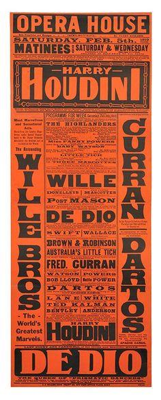 Houdini Australian Opera House Broadside. 1910.