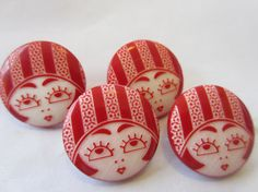 Vintage Buttons  lot of 4 matching flapper face by pillowtalkswf, $3.95