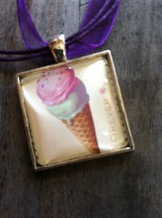 Ice Cream Cone Necklace ~  Soda Fountain Favorites ~ Dome Pendant Tray Necklace ~ Postage Stamp Jewelry ~ Forever Stamp by MichellesVarietyShop on Etsy