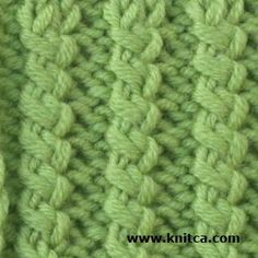 A Twisted Rib #Knitting Stitch such as this is a great way to add interest to a classic stockinette stitch sweater. Made in the color of this sample, you could quickly have a great Spring cardigan to wear for a lifetime.