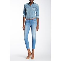 7 For All Mankind The Ankle Skinny Jean ($80) ❤ liked on Polyvore featuring jeans, vivdathblu, faded skinny jeans, white jeans, frayed skinny jeans, white skinny ankle jeans and skinny leg jeans