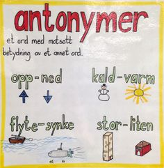 Antonymer Norway Language, Danish Language, Barn Crafts, Too Cool For School, Back To School, School Subjects, Starting School, Learn French, Kids Education