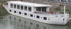Houseboat barge seine white