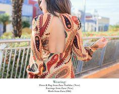 Look sixty con vestido estampado paisly de Zara