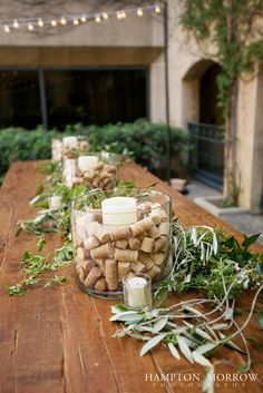 Venetian Terrace, Italian Themed Wine Cork Centerpieces