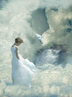 Will she enter the Paradise behind the clouds?