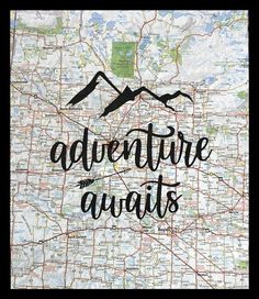 Adventure Awaits Wall Art ~ Travel quote ~ Inspirational quote ~ Recycled map paper ~ Printed on upcycled vintage atlas pageEach print will be totally uniq Vintage Witch, Upcycled Vintage, Adventure Awaits, Quotes Inspirational, Travel Quotes, The Good Place, Character Counts, Wall Art, Amazing Places