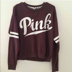 ISO THIS Victoria's Secret PINK crew size large I've been looking for this exact crew in burgundy, in size large. please let me know if you have it! I've never bought anything on here so I'd really prefer to use merc! PINK Victoria's Secret Sweaters Crew & Scoop Necks