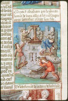 Construction de la Tour de Babel, BM Tours, ms. 0052, fol. 002, vers 1500