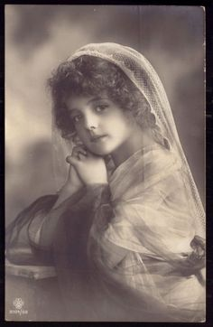 1910s Old R.Photo postcard Fantasy. Pretty Edwardian Girl GRETE REINWALD w/veil
