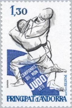 Sello: Judokas in the fight (Andorra (Francesa)) (World Judo Championships, Paris) Yt:AD-FR 281,Mi:AD-FR 302