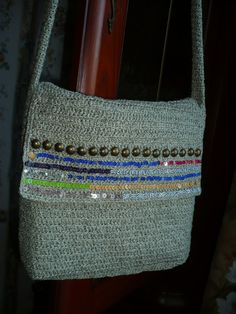 Сrochet bag crochet cotton bagsequins bag cotton bag
