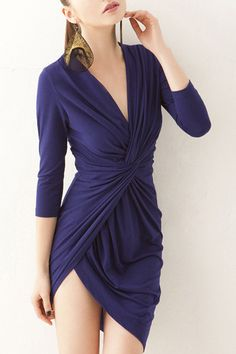 Sexy Plunging Neck 3/4 Sleeve Pure Color Asymmetrical Women's Dress