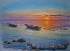 Две лодки на закате Крымский пейзаж.